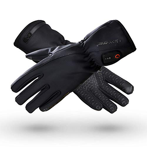 Dr.warm Heated Glove Liners for Men and Women Windproof Touchscreen Anti-Skip with Rechargeable Battery for Outdoor Motorcycle Camping Hiking Skiing, Hand Warmer Heat Up to 3-7H [L] (Heated Glove Liners Battery)