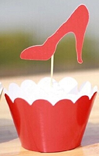 Set of 12 Red High Heel Cupcake Wrappers and Toppers