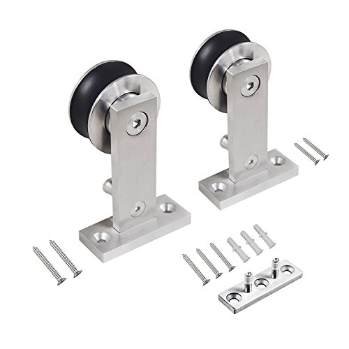 (SMARTSTANDARD Top Mount Stainless Steel Sliding Barn Door Hardware Hanger 2pcs (T-Shape Hangers))