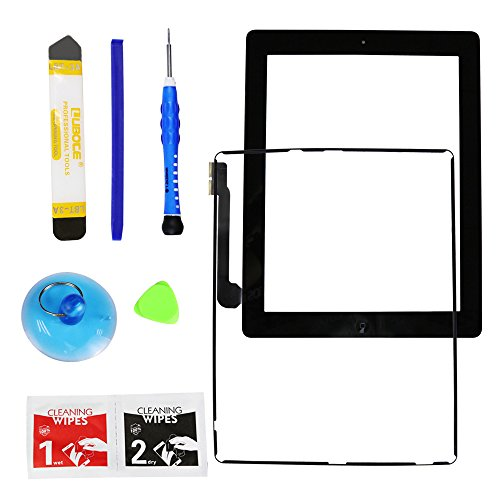 Monstleo New Black Digitizer Touch Screen Front Glass Assembly For iPad 3 - Includes Home Button + Pre-Installed Adhesive with tools kit for iPad 3 3rd Gen Touch