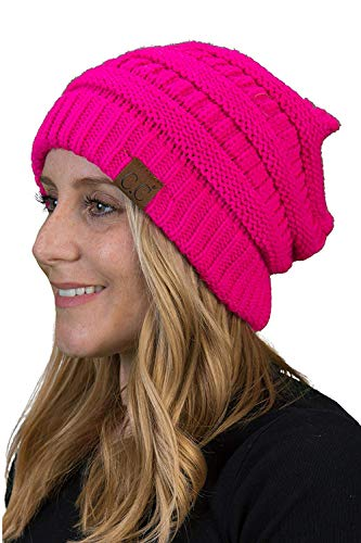 (Funky Junque H-6020a-78 Solid Ribbed Beanie - Neon Hot Pink)
