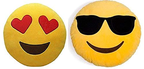 Frantic Best Heart Eyes and Cool Dude Soft Smiley Plush Cushion (35 cm) -Set of 2