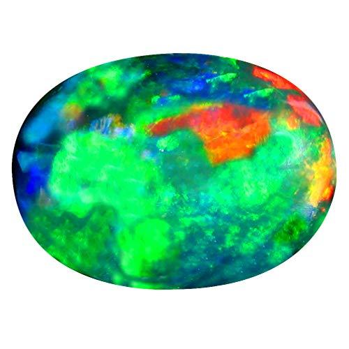 5.29 ct Oval Cabochon Cut (16 x 12 mm) Ethiopian Play of Colors Black Opal Loose Gemstone