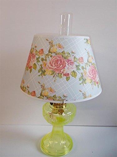 "Aladdin Lamps Vaseline Short Lincoln Drape Lamp with 14"" Lattice Rose Bouquet Shade #100019997"