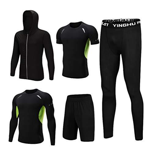 Uomo Cappuccio Pezzi Set Corta Completi Lunga Camicie Compressione Lvguang Manica Nero 5 Con Pantaloni Giacca 1 Abbigliamento Vestiti A Pantaloncini Sportivi Fqdnpgw8