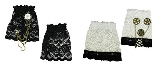 Set of 4 Steampunk Wrist Cuffs! Complete with Lace and Decorative Chains! (1 Black & 1 White)