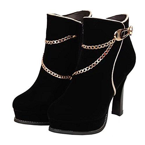 AIYOUMEI Damen Plateau High Heels Ankle Boots Herbst Winter Warm Stiefeletten mit Kette Elegant Stiefel Schuhe Schwarz