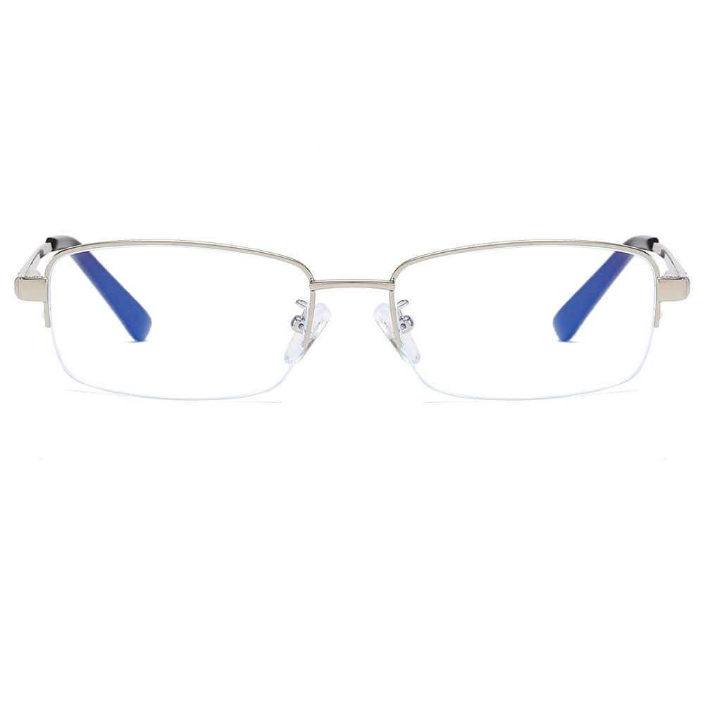 Men Glasses Frame Fashion Silver Rectangle Full Frame Decoration Prescription Glasses
