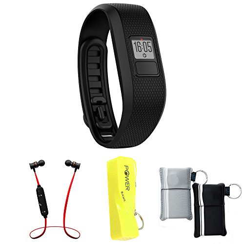 Garmin Vivofit 3 Activity Tracker Fitness Band - Regular Fit - Black (010-01608-00) with Xtreme Fusion Bluetooth Headphones Black/Red, 2600mAh Keychain Power Bank & Neoprene Pouch by Garmin