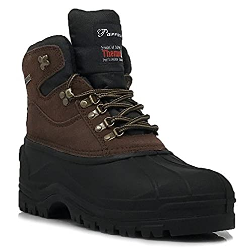 Enzo Romeo HYN Men's Winter Heavy Duty Leather Snow Boots Cold Weather Thermos Rubber Sole Oxfords Work Shoes