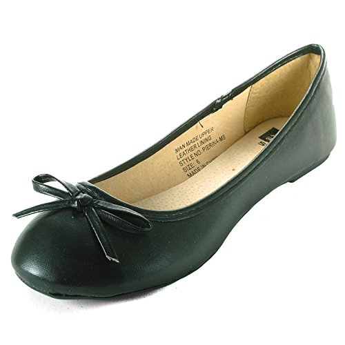 (alpine swiss Iris Womens Black Genuine Suede Lined Bow Ballet Flats 8 M US)