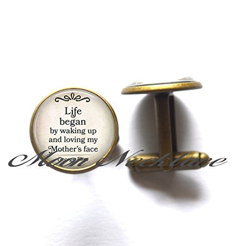 Charm Cufflink, Dainty Cufflink, Delicate Cufflink,Life Began by waking up and loving my Mother's Face,quote Cufflink, Mother's Day Cufflink Mother's Day gift literary-ZE120