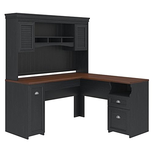 - Fairview L Shaped Desk with Hutch in Antique Black