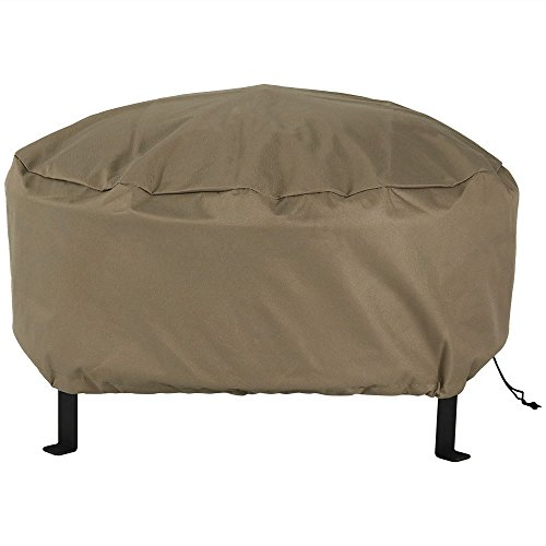 Sunnydaze Outdoor Round Fire Pit Cover - Heavy Duty 300D Polyester - Weather Resistant and Waterproof PVC Material - Khaki Color 30 Inch Size (Fire Pit Material Best)
