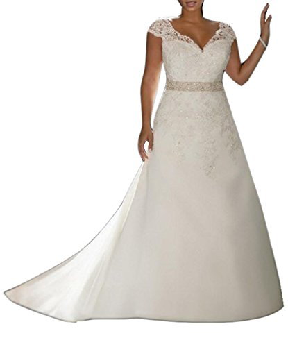 Emmani Women's A-line Double Shoulder Lace Applique Africa Wedding Dresses White 12 by Emmani
