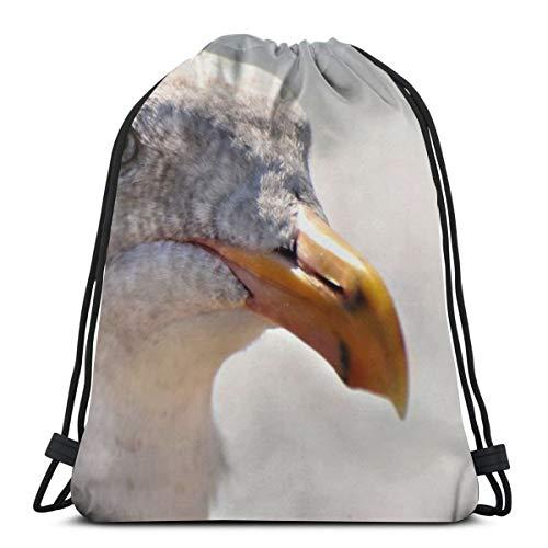 Seagull bird beak head close up Drawstring Backpack Bag Lightweight Gym Travel Yoga Casual Sackpack Shoulder bag for Hiking Swimming beach