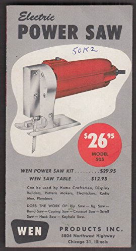 Wen Electric Power Saw, Kit & Table sales folder 1950
