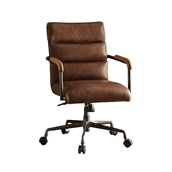Acme Furniture 92414 Harith Top Grain Leather Office Chair in Retro Brown