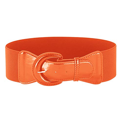Fashion belt women 40's Vintage Elastic Waist Belt(L,Orange)