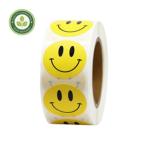 Hcode 1 inch Smiley Face Stickers Roll Happy Face Stickers Circle
