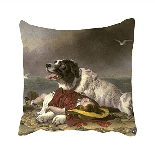 Ranhkdn Famous Rescue Animals Designs Decorative Woven Couch Throw Pillows, Square Pillowcase