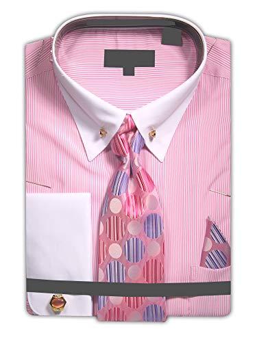 Men's Micro White Stripe Dress Shirt with French Cuffs and Neck Tie Handkerchief Cufflinks Collar Bar - Pink 18.5 36-37