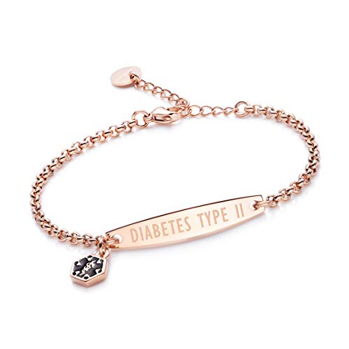 linnalove-Pre-Engraved Diabetes Type 2 Rose Gold Simple Rolo Chain Medical Bracelet for Women & -