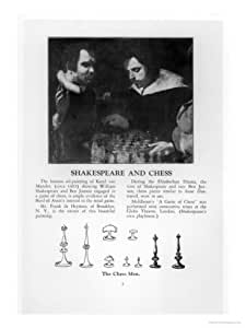 William Shakespeare and Ben Jonson Engaged in a Game of Chess Giclee Print Art (24 x 32 in)