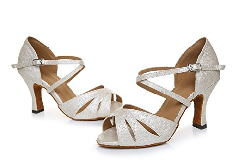 Tda Damesmode Satijnen Enkelbandje Glitter Salsa Tango Ballroom Latin Moderne Dans Trouwschoenen Beige