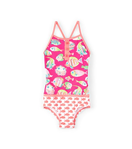 Hatley Little Girls' Colorblock Swimsuits, Fancy Fish, 2 (Fish Swimsuit)