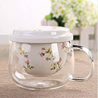 YF-TOW 301-400ml Personal Glass and Ceramics Made Tea Infuser & Mug, Teapot/Teacup (Pink)