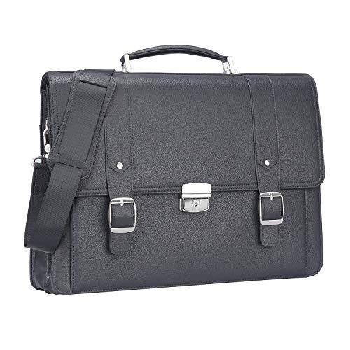 Ronts Black Genuine Leather Briefcase for Men Lock Lawyer Attache Case Business Handbag 15.6 Inch Laptop Shoulder Messenger Bag
