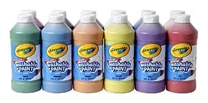 Crayola Washable Paint, Assorted, 16 oz., 12 per Set (549718)