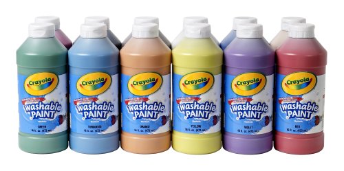 Crayola Washable Paint, 16 oz Plastic Squeeze Bottles, 1 Each of 12 Assorted Colors ()