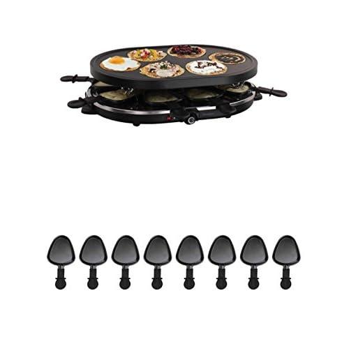 2en 1raclette Plaque de grill barbecue électrique de table 8personnes Crêpes maker (8Coupelles, 1200W, revêtement anti-adhésif, Party Grill)