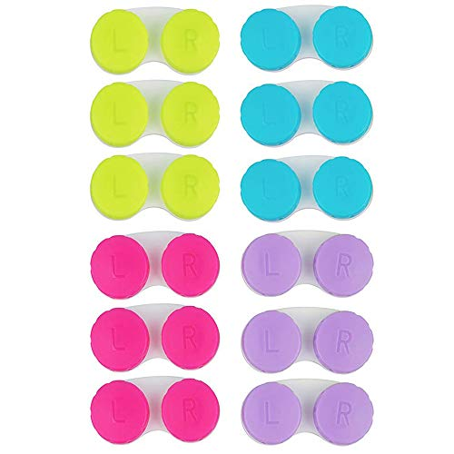 KISEER 12 Pack Colorful Contact Lens Case Box Holder Container Soak Storage Kit (Pink, Blue, Purple, Green)