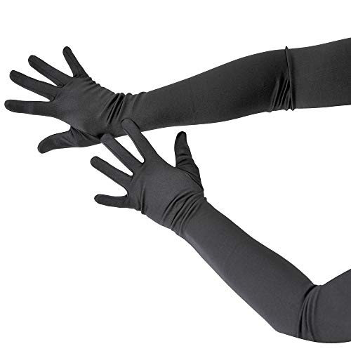 Skeleteen Black Satin Opera Gloves - Roaring 20's Fancy Flapper Elbow Gloves - 1 Pair -