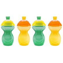 Munchkin Click Lock Bite Proof Sippy Cup, Green/Yellow, 9 Ounce, 4 Count