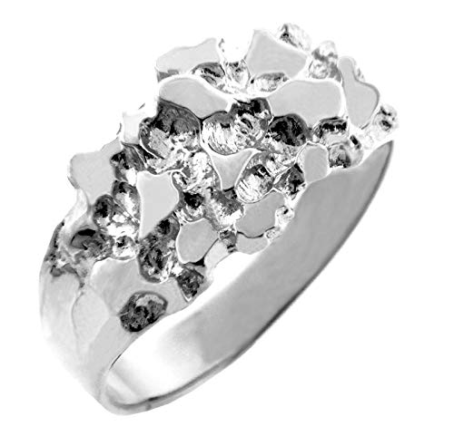 Men's 14k White Gold Nugget Ring