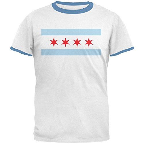 Sky Ringer T-shirt (City Flag Chicago Mens Ringer T Shirt White-Sky LG)