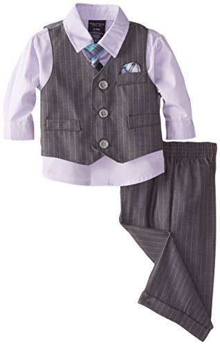 Herringbone Stripe Dress Shirt (Nautica Baby-Boys Newborn Herringbone Deco Stripe Vest Set, Purple, 6-9)