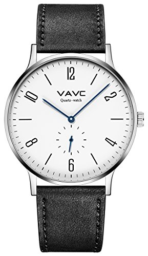 VAVC Men's Black Leather Band Casual Simple Dress Quartz Wrist Watch with White Face