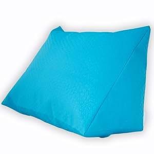 Tien 24.7446–Cojín cuña reposacabezas almohada decorativa para el exterior de piel sintética en imitación de ratán color verde, arena, turquesa, color blanco y naranja