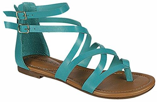 Breckelles Donna Open Toe Cinturino Alla Caviglia Cageut Flat Flat Strappy Flat-sandals Aqua