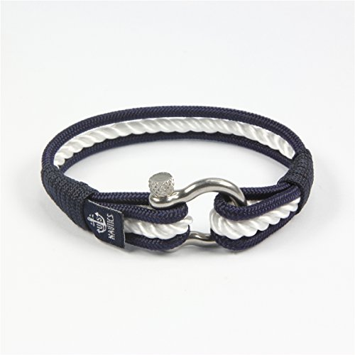 Blue Ocean Nautical Bracelets - Beautiful Bracelets Made of Yachting Rope- Wide Variety of Designs&Colors- Stainless Steel Buckle- Great Gift Idea For Men&Women- (Large, Nice) Photo #6
