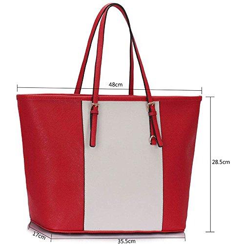 TrendStarSeñoras Grandes De Los Bolsos De Hombro Para Mujer De Bolsos De Diseño Cuero Del Faux Estilo De Las Celebridades Nueva Asas E - Red/White