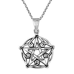 AeraVida Gothic Pentagram of Brisingamen .925 Sterling Silver Pendant Necklace by AeraVida