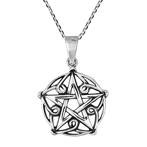 AeraVida Gothic Pentagram of Brisingamen .925 Sterling Silver Pendant Necklace