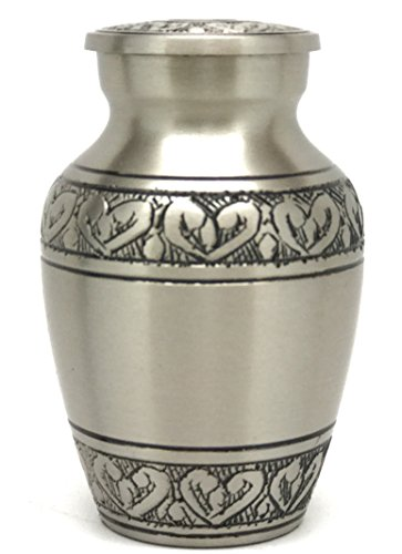 Mini Keepsake Urn • Miniature Funeral Cremation Urn fits Small Amount of Ashes • Corinthian Silver Model • 3 inches Tall