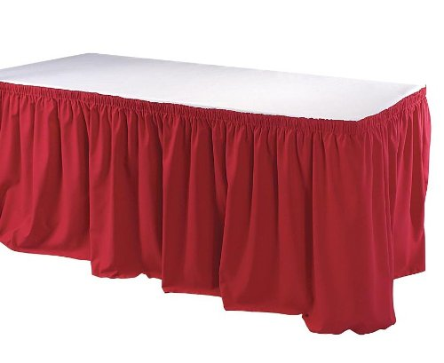 13' Towel Bar (Phoenix 13-Feet Table Skirting, Shirred, Red)